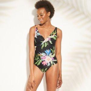 NWT Kona Sol Twist Front Black Floral Swimsuit